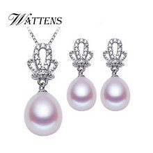 WATTENS Crown pearl jewelry sets white black fashion 925 sterling silver Pendant Necklace/earrings Romantic party for women gift(China)