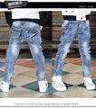 Nueva llegada 2016 del otoño del resorte de los niños de los muchachos luz ocasional pantalones lavado de mezclilla para niños moda pantalones envío gratis