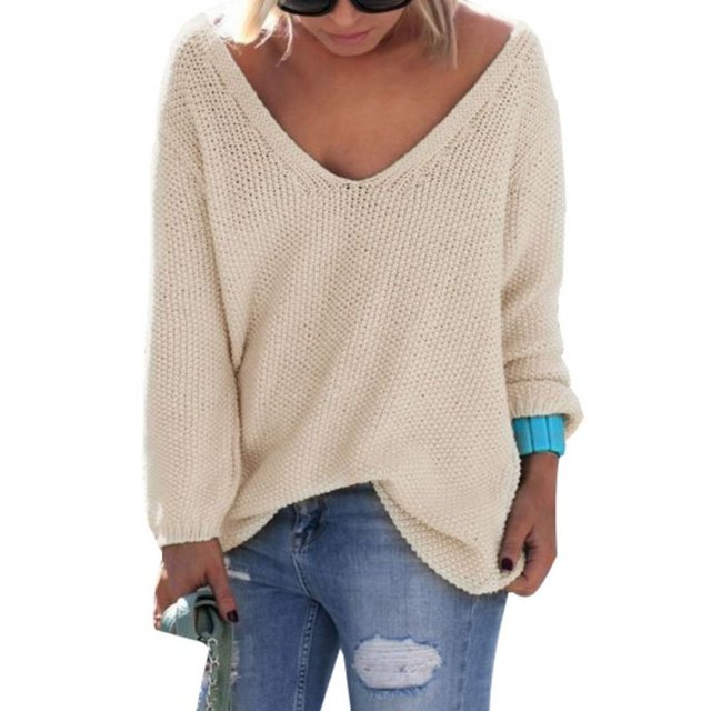 Women Cute Elegant V Neck Loose Casual Knit Sweater Pullover Long Sleeve Spring Autumn Sweater Tops sueter mujer