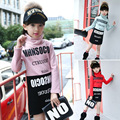 Nova Marca Crianças Camisetas Fundo Para Meninas Carta de Gola Alta Manga Longa T-shirt Para Meninas Casual Blusa Tops Crianças Tees