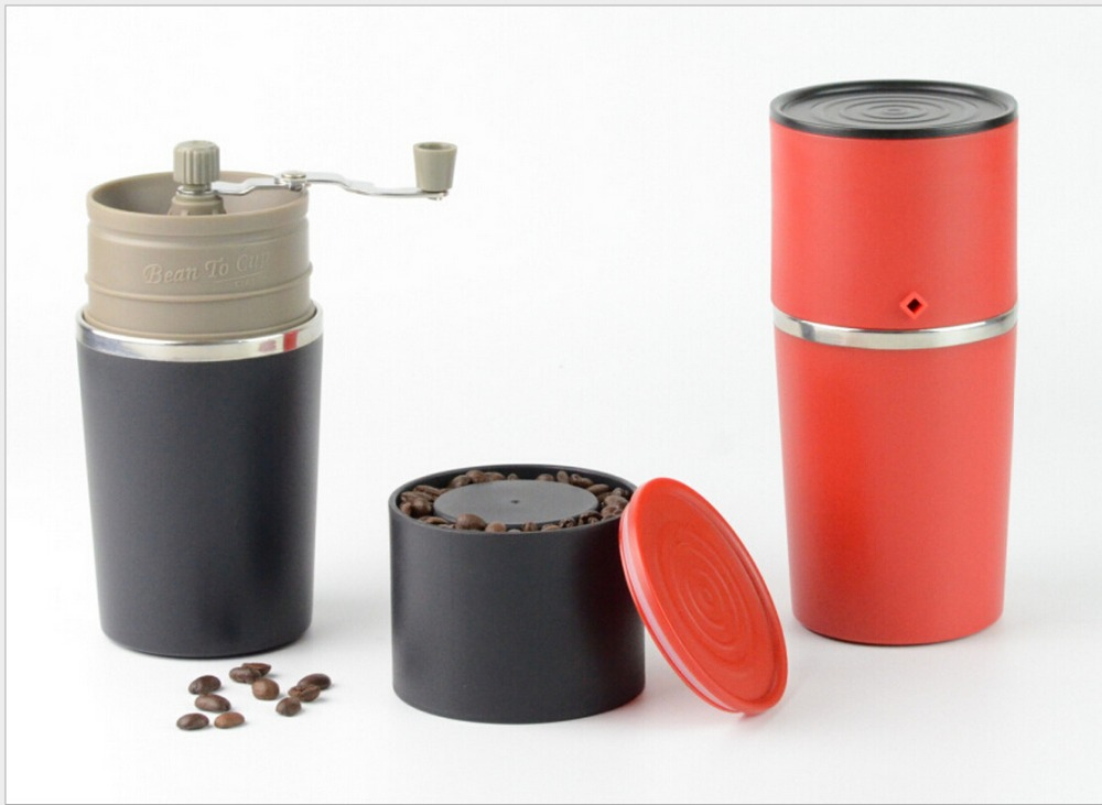 All-in-one coffee maker/Portable all-in-ine coffee maker with drip kettle/tumbler cup/grinder ,hot and new product gift box set handleless pot pillar cup filter cup drip coffee maker grinder home use can send a person top grade coffee gift box