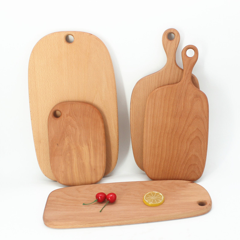 Solid Wood Cutting Board Beech Wood With Handle Chopping Board Wooden Dessert Fruit Plate Wholesale Custom Kitchen utensils square chopping board