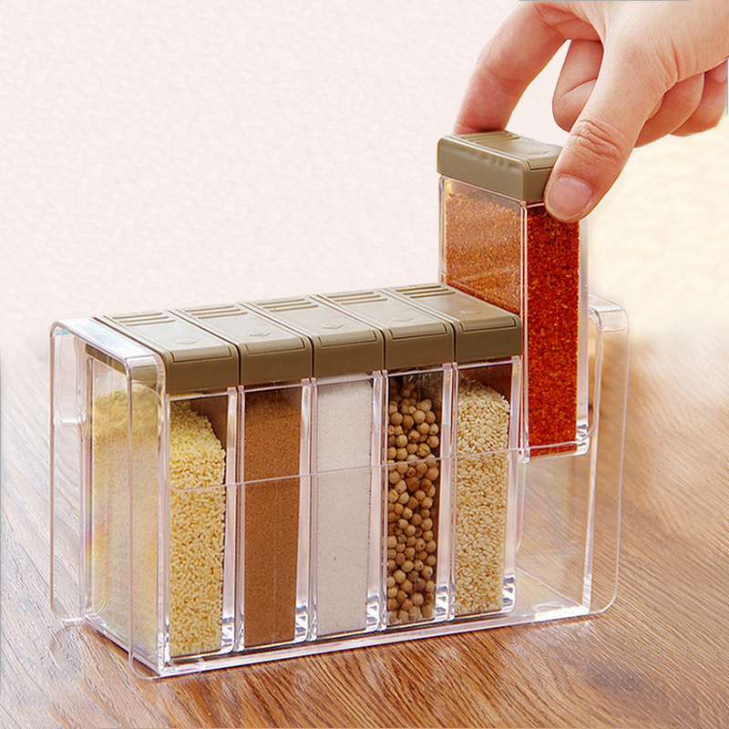 Acrylic transparent Spice Jar Colorful Lid Seasoning Box 6pcs/set Kitchen Tools Salt Condiment Cruet Storage box Containers