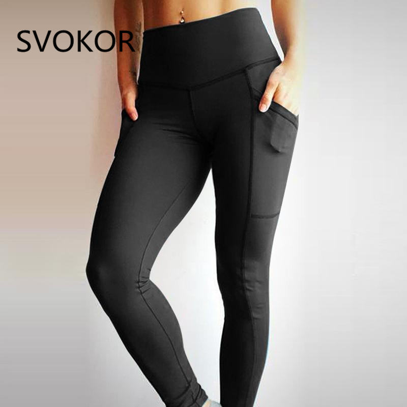 SVOKOR S-L Fold Women   Leggings   Casual pocket High Waist Fold Ankle-Length Pants Slim Fashion Breathable Fitness Women   Leggings