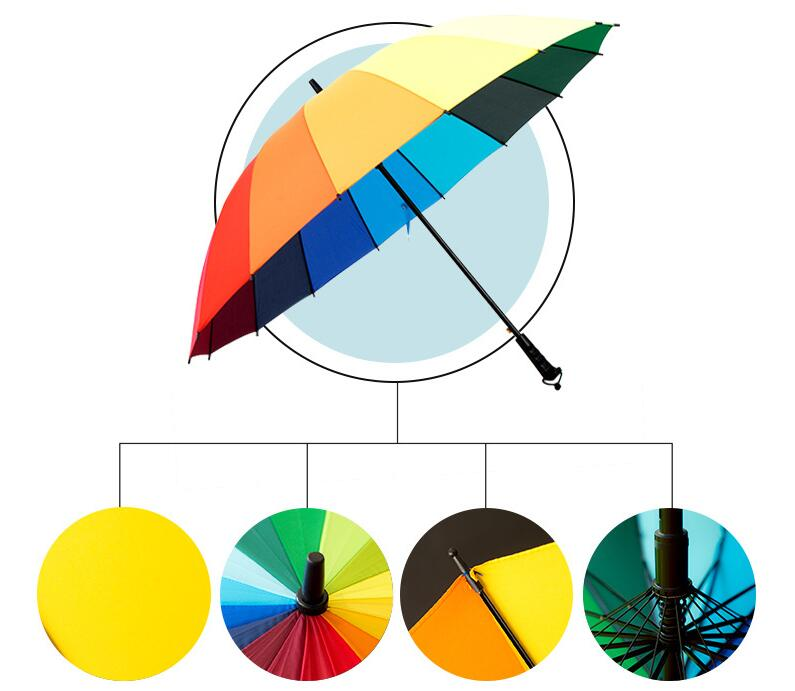 Rainbow Umbrella 16 Long Shank Bone Pure Color Rods Sunshade Cloth Rain Gift Lighting Strike DHL In Party Favors From Home