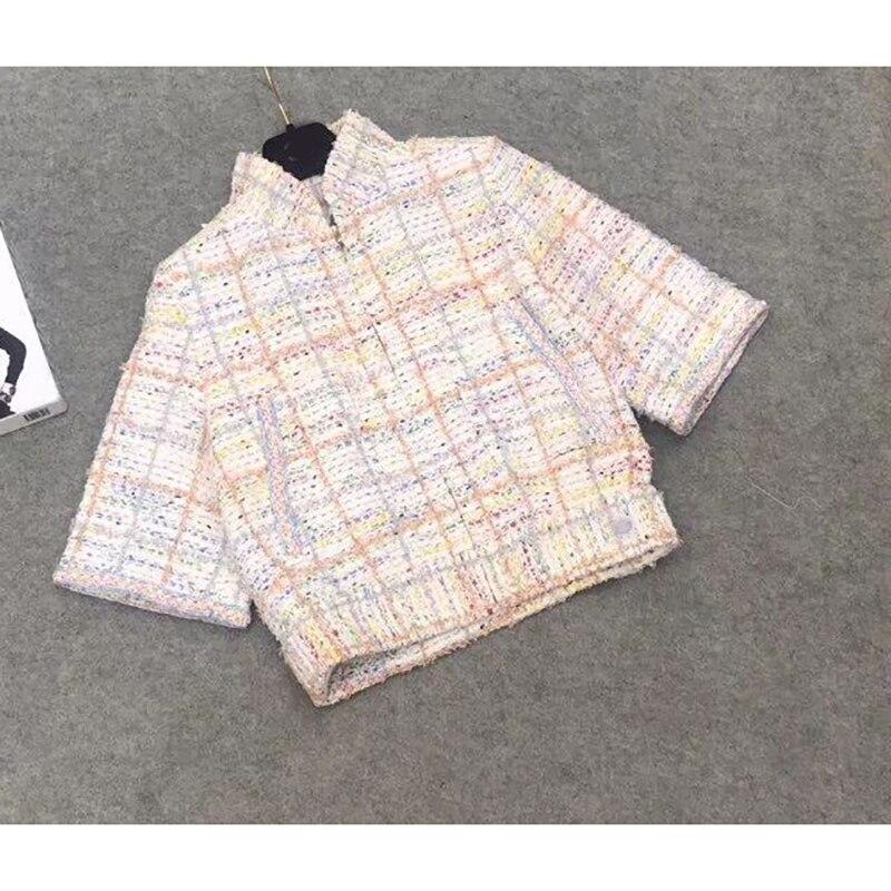 2019 Spring and Autumn New Women s Jacket Sleeve Short Jacket Jacket Stand Collar Tweed Elegant