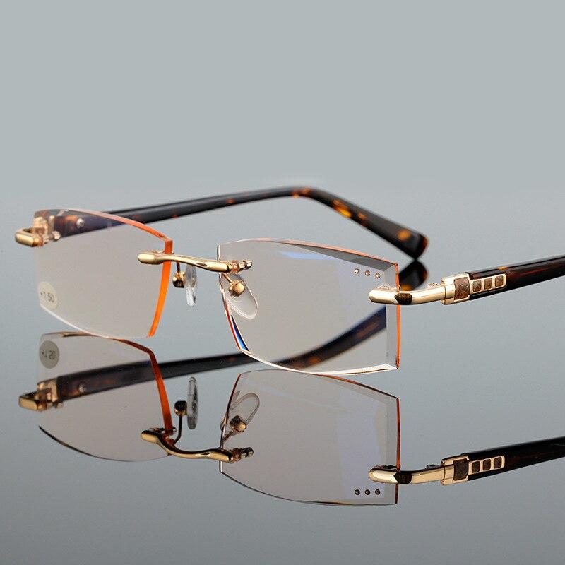 Brown/Grey Rimless Reading Glasses Men Women Frameless Points For Male Reader Men's Presbyopia 1.0 1.5 2.0 2.5 3.0 3.5