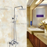 Modern Polished Chrome Bathroom Rain Shower Mixer Faucet Set Wall Mounted Dual Handle Taps Wcy309