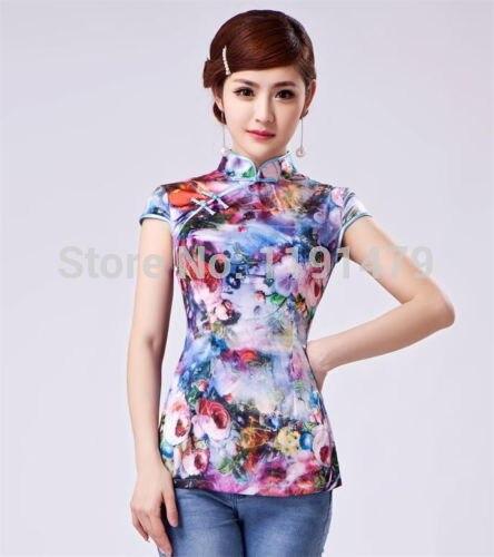 Nueva moda mujeres chinas tradicional de seda Tops cuello