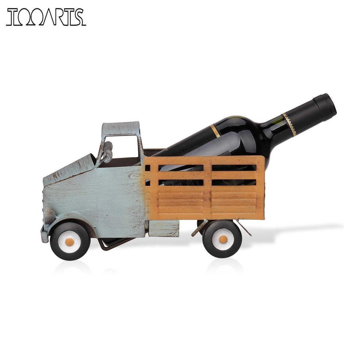 Tooarts camionnette vin rack vin plateau figurine en métal pratique figurine décoration de la maison décoration