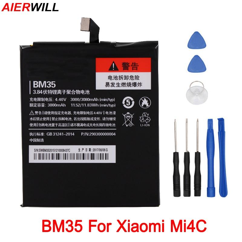 3000mAh <font><b>BM35</b></font> <font><b>Battery</b></font> For Xiaomi Mi4C Mi 4C Bateria Accumulator +Tools