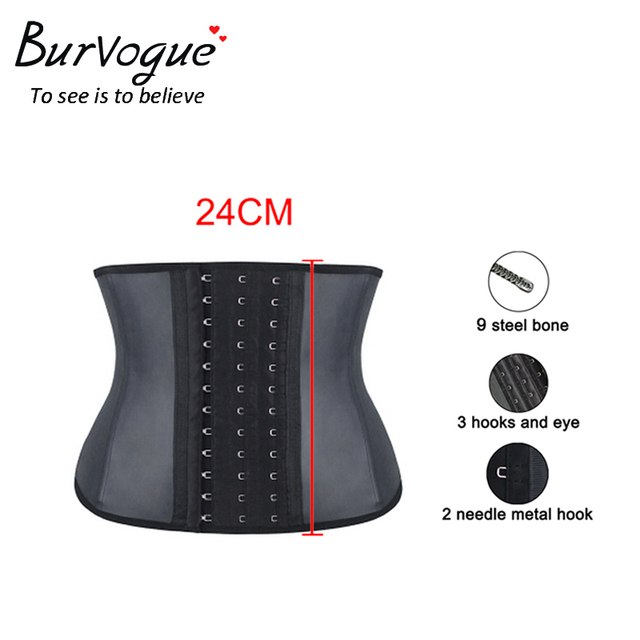 Burvogue Slimming Shaper Corselet Waist Control Corset  Women Steel Bones Bustier Underbust Smooth Latex Cincher