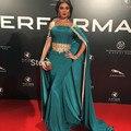 Abendkleider 2016 Elegante Barco Pescoço Caftan Dubai Vestido de Noite com Capa Abayas Frisado do baile de Finalistas do Vestido Formal Vestidos Robe de soiree