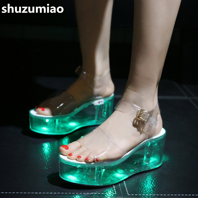 Leisure LED Shoes Women Sandals Fashion Transparent Sandals High Heels Women Shoes Comfortable Platform Shoes Woman Pumps