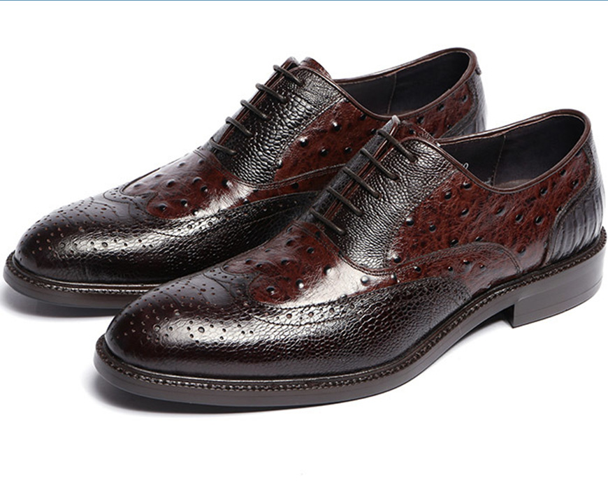 Cow leather sole Brown tan / black mens oxfords shoes genuine leather dress shoes mens business shoes new wedding shoes