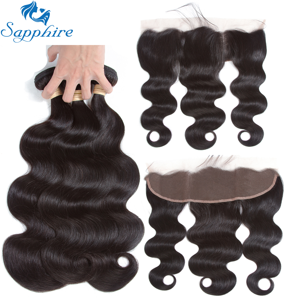 Sapphire Brazilian Human Hair Bundles With Lace Frontal Closure 100 Human Hair Extension Body Wave Bundles