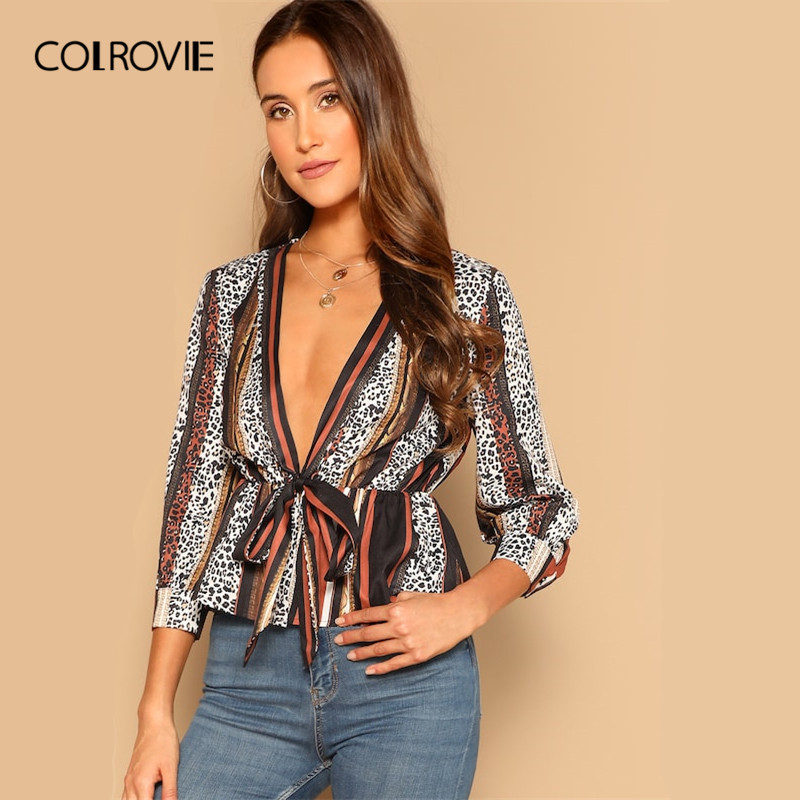 COLROVIE V-Neck Knot Leopard Striped Sexy Peplum   Blouse     Shirt   Women Top 2019 Spring Style Long Sleeve   Shirts   Office Ladies Tee