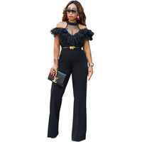 MUXU summer clothes for women jumpsuit body feminino sexy off shoulder rompers womens streetwear lace mesh wide leg jumpsuit