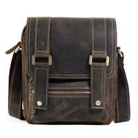 New vertical vertical square diagonal cross parcel first layer leather bag male bag street trend of leather ipad bag