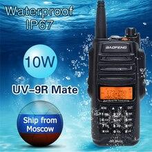 Walkie talkie baofeng de UV 9R mate 4500mah, rádio cb ham station 10w à prova dágua ip67 com atualização de UV 9R mah km longo alcance vhf uhf