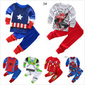 Drop Shipping super hero pajamas boys captain america pijamas children cartoon sleepwear baby spiderman girls toy story pyjamas
