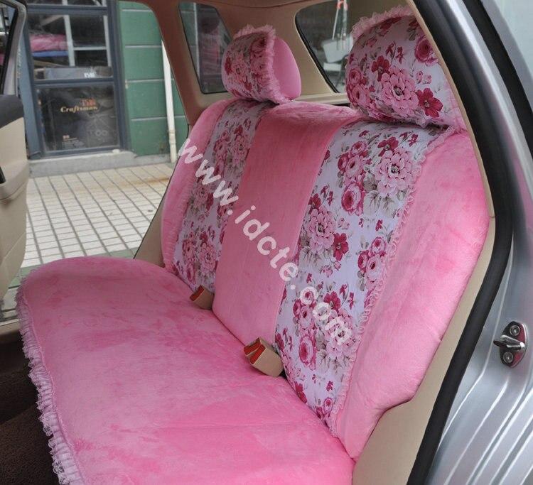 blume drucken spitze auto sitz covers universal kurze plusch winter auto sitzbezuge sets fur frauen madchen innen zubehor 18 stucke
