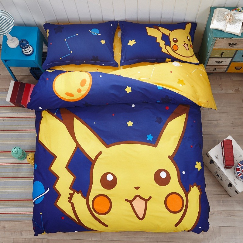 Cotton Kids Pokemon Pikachu Bedding Set Bed Sheet Cartoon