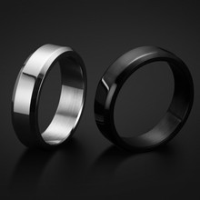 One Piece Stainless Steel Band Brushed Wedding Ring Solid Fashion Glossy Ring for Men
