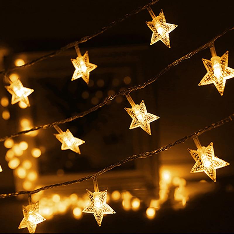 ac220v stars eu plug light s tring holiday wedding decoration finger spinner christmas lights outdoor decoration - Lighted Christmas Decorations