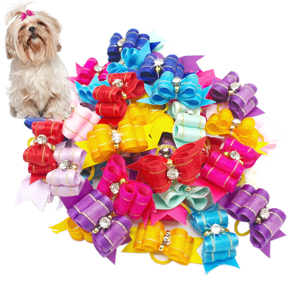 20 50 100pcs Handmade Designer Dog Hair Bows With Rubber Bands Rhinestone Cat Puppy Grooming Bows