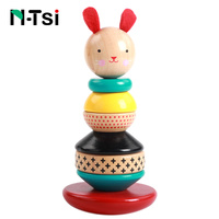 N Tsi Bunny Balance Stacker Kids Wooden Blocks Set 8Pcs Toddler Learning Education Baby Toys For