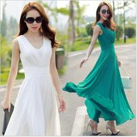 Summer Women S Beach Dress Slim Chiffon Bohemian Dress Boho Style Long Dress Women White Green