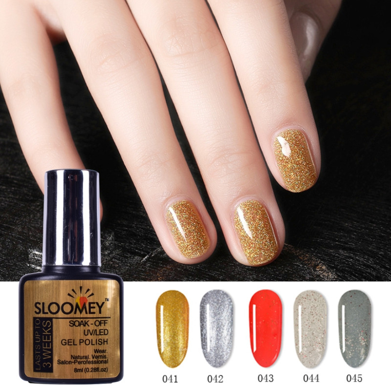 SLOOMEY Nail Art Design Varnish Soak Off Gel Nail Polish 8ML Green Glitter Color UV LED Gel Nail Polish Long lasting Gel Lacquer