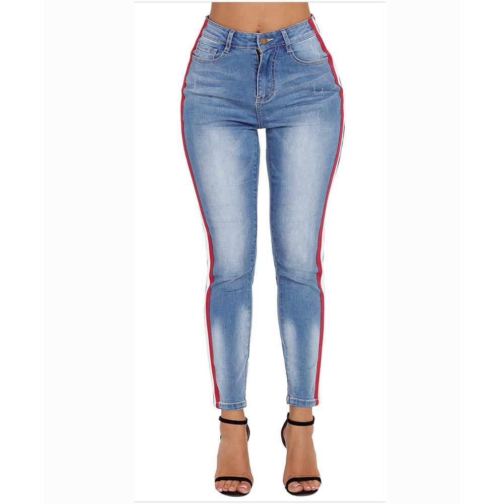 ce3abad33 Retro Lado Las A Tamaño Mujeres Chic Damas Vendaje Jeans Plus Ropa Calle  Gran Vintage Blue ...