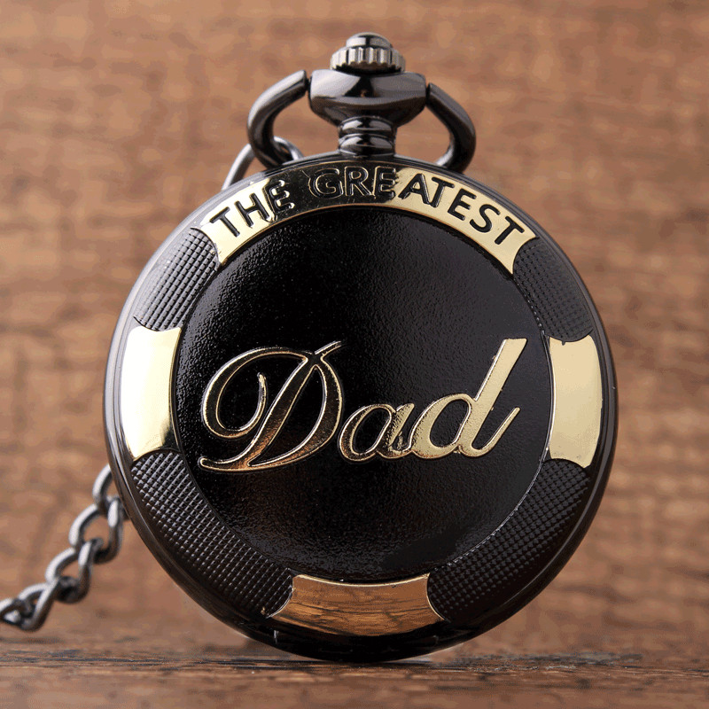 Vintage Black Golden Fashion Dad Pocket Watches Luxury THE GREATEST DAD Retro Quartz Mens Father's Present FOB Chain With Box dad pocket fob watches chain luxury black