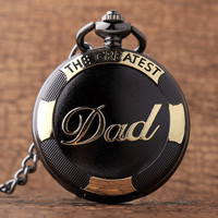 Vintage Black Golden Fashion Dad Pocket Watches Luxury THE GREATEST DAD Retro Quartz Mens Father's Present FOB Chain With Box