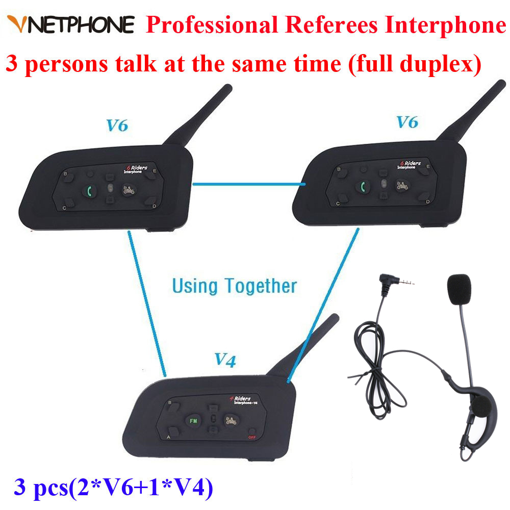 Vnetphone marque 1200 m casque de Communication Duplex complet 3 coureurs parlant pour le Football arbitre juge Biker sans fil BT interphone