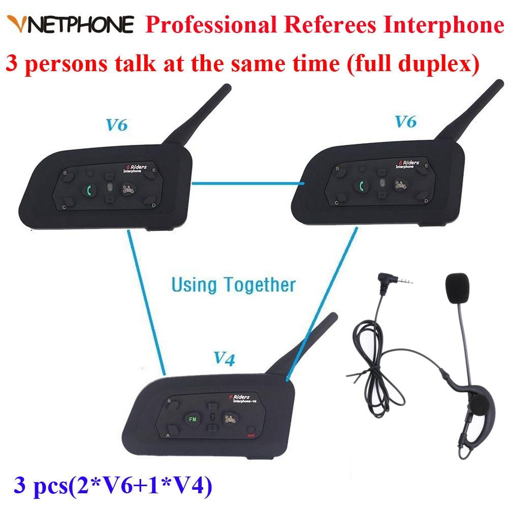 Vnetphone marque 1200 m casque de Communication Duplex complet 3 coureurs parlant pour le Football arbitre juge Biker sans fil BT interphone