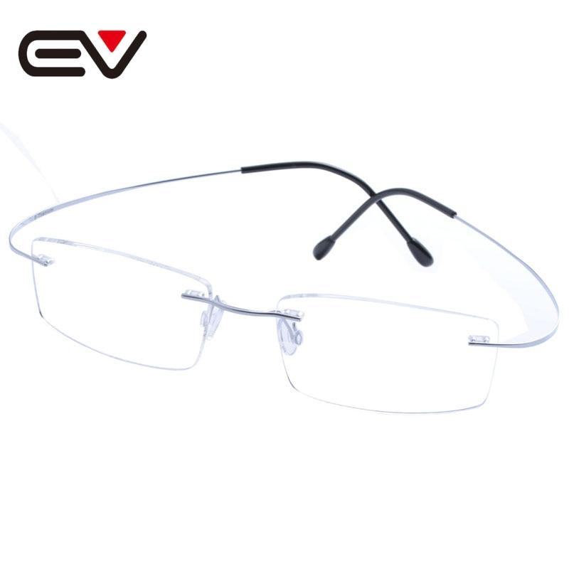 Fashion Man Women Titanium Rimless Eyeglasses Frames Ultra-light Elastic Optical Glasses titanio gafas sin montura marco EV1356