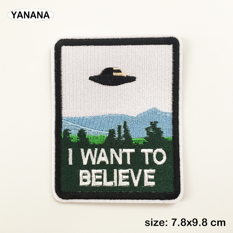 Alien ET UFO High quality embroidery with badges Iron on Patches for Clothing DIY or Hobby collection in Patches from Home Garden