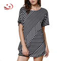 Stylish Skew Striped Short Sleeve Women Summer Long T-shirts Clothing Round Neck Casual Tops Lady Tee Shirts Overalls