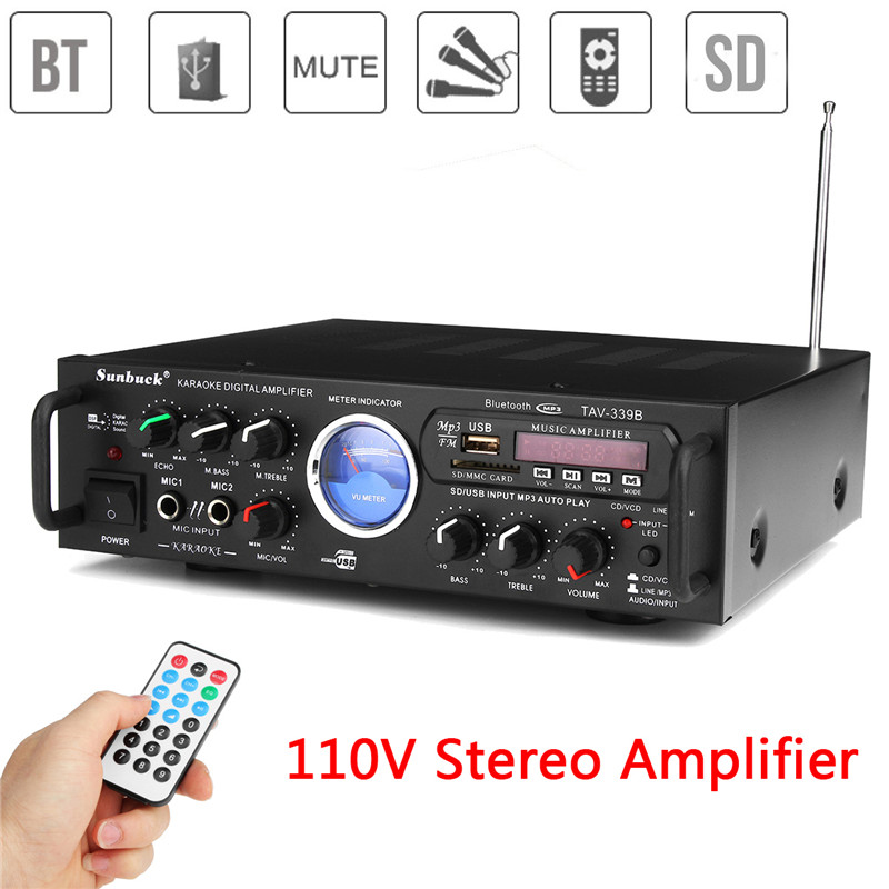 US Plug 110V 600W Bluetooth Stereo Power Amplifier Audio Karaoke Home Car Hi-Fi FM Radio Amplifier With Remote Control home car cd player 4 channel audio amplifier with remote control and bluetooth function good sound quality