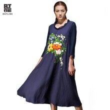 Outline Summer Women Vintage Dress Loose Plus Size Flower Embroidery O-neck Wrist Sleeve Linen Elegant Long Party Dress L151Y034