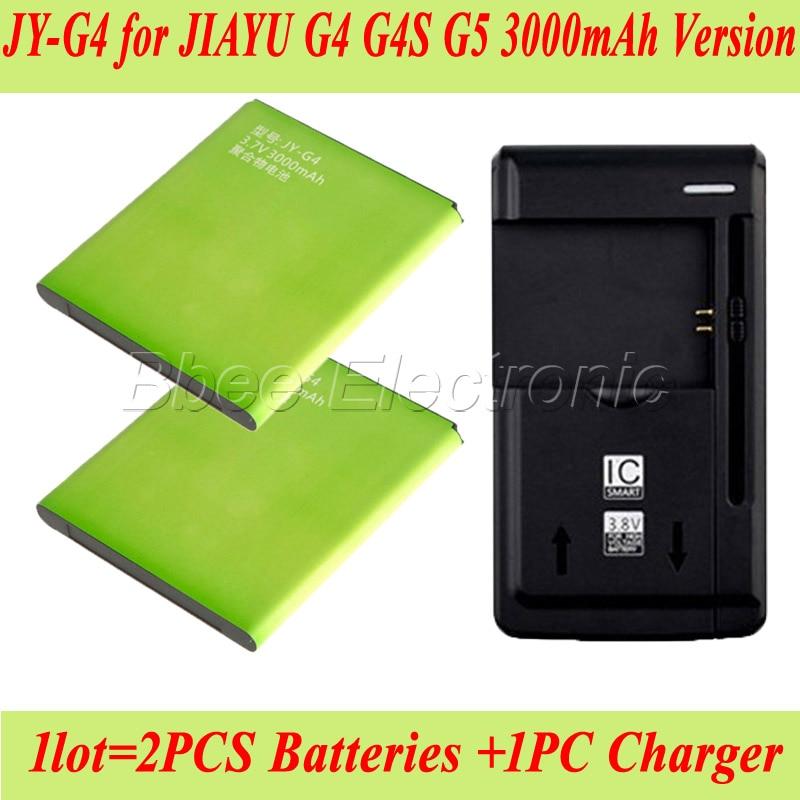 imágenes para 1 lot = 1 unid universal del cargador del muelle + 2 unids 3000 mah versión jy-g5 batería para jiayu g4 jy-g4 g5 g4s batería batería accu akku pil