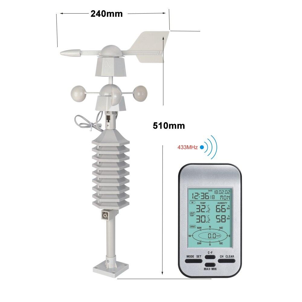 Horloge de station météo sans fil RF 433 mhz avec capteur de vitesse et de direction du vent