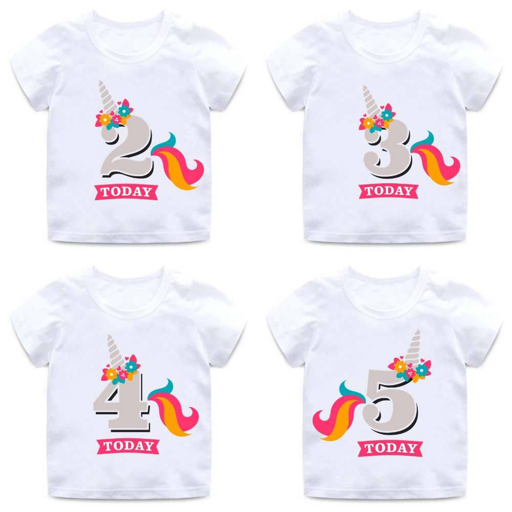 Girls Birthday Unicorn Number 1-9 Bow Cute Print T Shirt Baby Summer White T-shirt Kids Funny Birthday Present Clothes,ooo2431