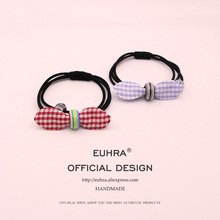 EUHRA 4 Colors Elastic Bow-knot Plaid Crystal Ball For Women Hair Band Kid Children Rubber High Elasticity