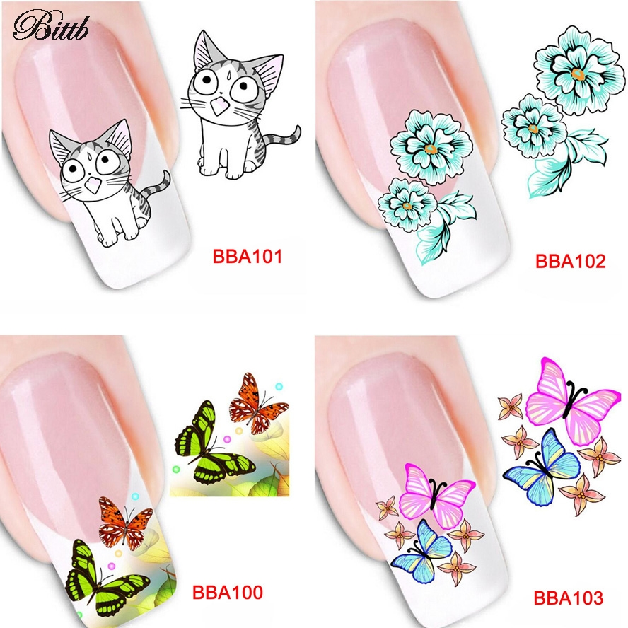 Bittb 8 Sheets Custom Nail Art Stickers Decals Butterfly