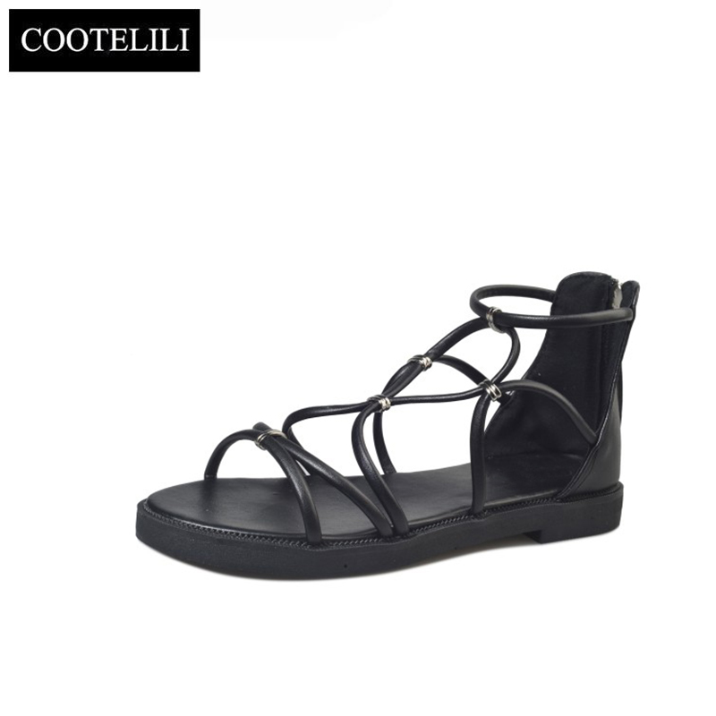 COOTELILI 35-39 Summer Gladiator Flats Open Toe Women Shoes Casual Cross-Tied Low Heels Ladies Sandals Sweet Sandalia Feminine 2017 summer shoes woman platform sandals women soft leather casual open toe gladiator wedges sandalia mujer women shoes flats