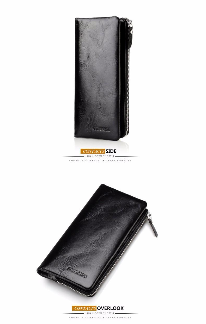 Genuine leather long men's wallet